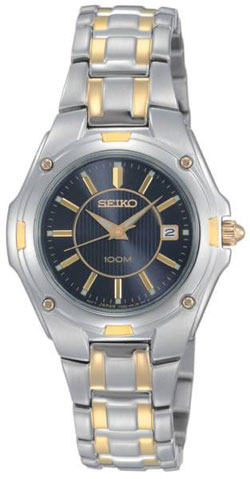 Seiko SXDB46 SXDB46P9 Ladies Quartz Date Watch - Two-Tone - Black Dial two-tone Ladies Watch