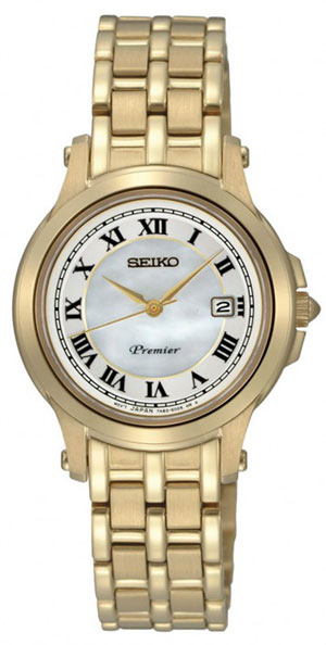 Seiko SXDE04 SXDE04P1 Premier Ladies Watch Gold WR100m
