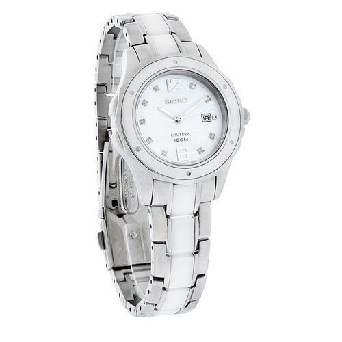 Seiko SXDE85 SXDE85P1 Coutura Ladies Ceramic Diamond Watch