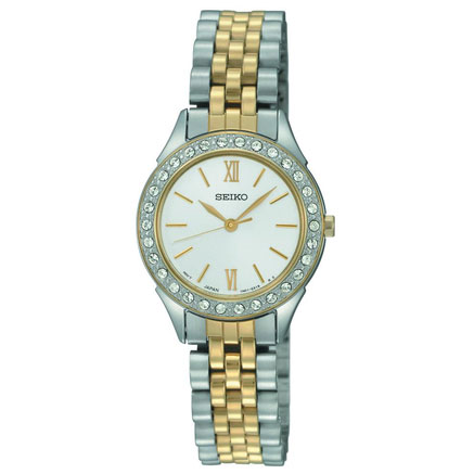 Seiko SXGP28 SXGP28P1 Ladies Watch Two-Tone Crystal Mother of Pearl