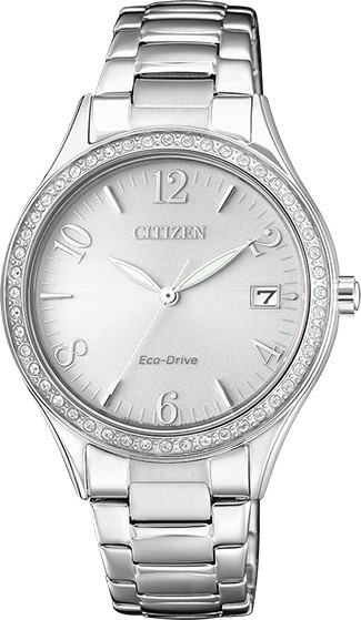 CITIZEN EO1180-82A Eco-Drive Ladies Solar Crystal Watch Silver