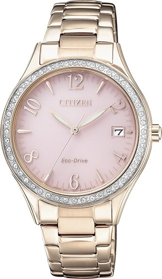 CITIZEN EO1183-84X Eco-Drive Ladies Solar Crystal Watch Pink Gold