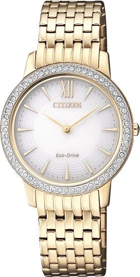 CITIZEN EX1483-84A Eco-Drive Ladies Solar Crystal Watch Gold