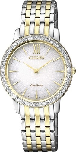 CITIZEN EX1484-81A Eco-Drive Ladies Solar Crystal Watch Two-Tone