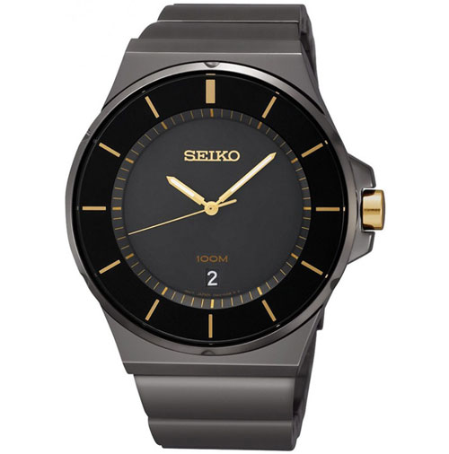Seiko SGEG19 SGEG19P1 Mens Watch Black Gold