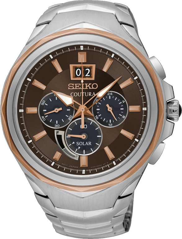 Seiko SSC628 SSC628P9 Coutura Mens Solar Watch rose gold Chronograph