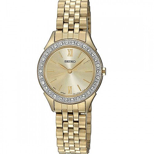 Seiko SXGP30 SXGP30P1 Ladies Watch Gold Tone Crystal Mother of Pearl